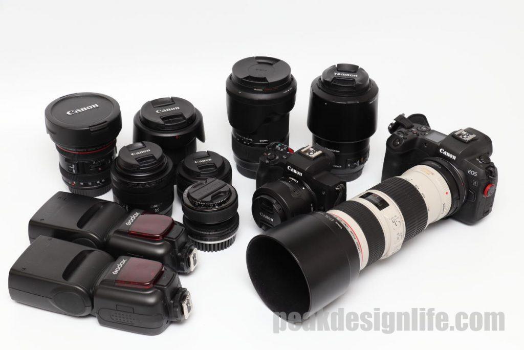 カメラキューブLにパッキングしたカメラやレンズ、ストロボ