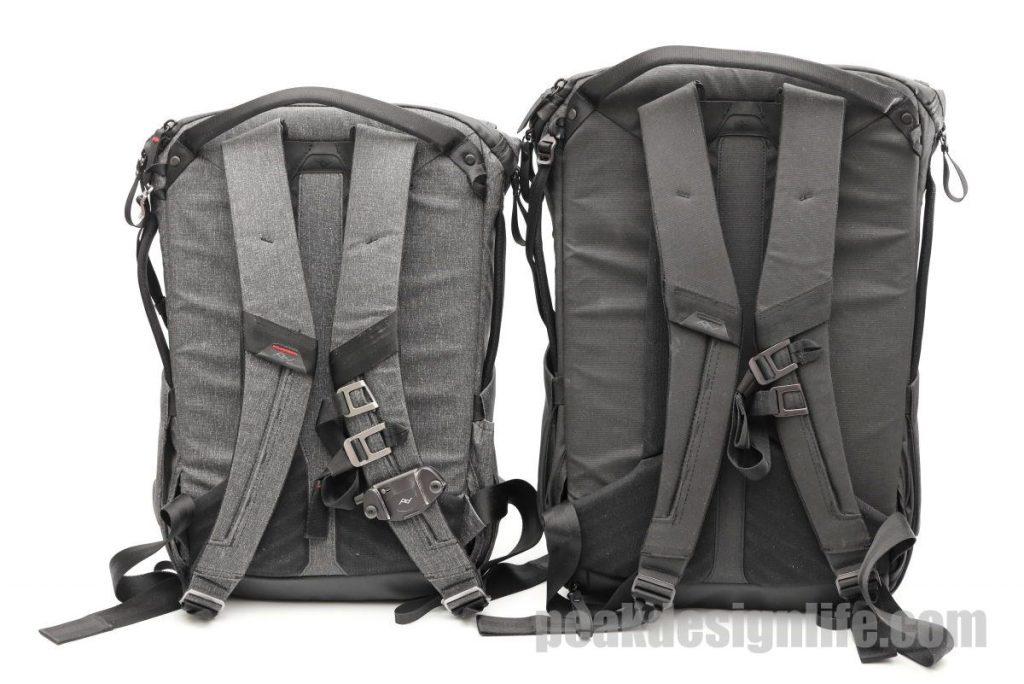 20Lと30Lの比較 背面 ピークデザインのエブリデイバックパック