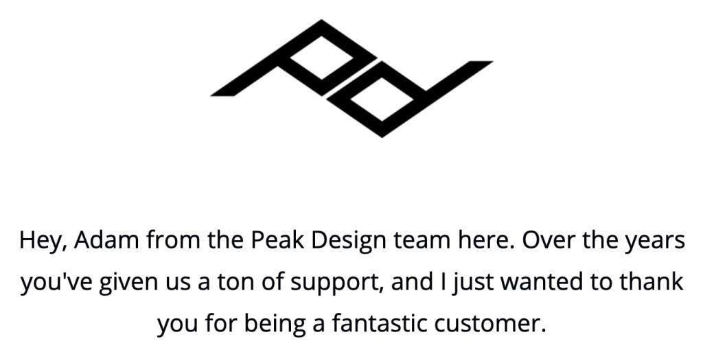ピークデザインからきたお礼のメール