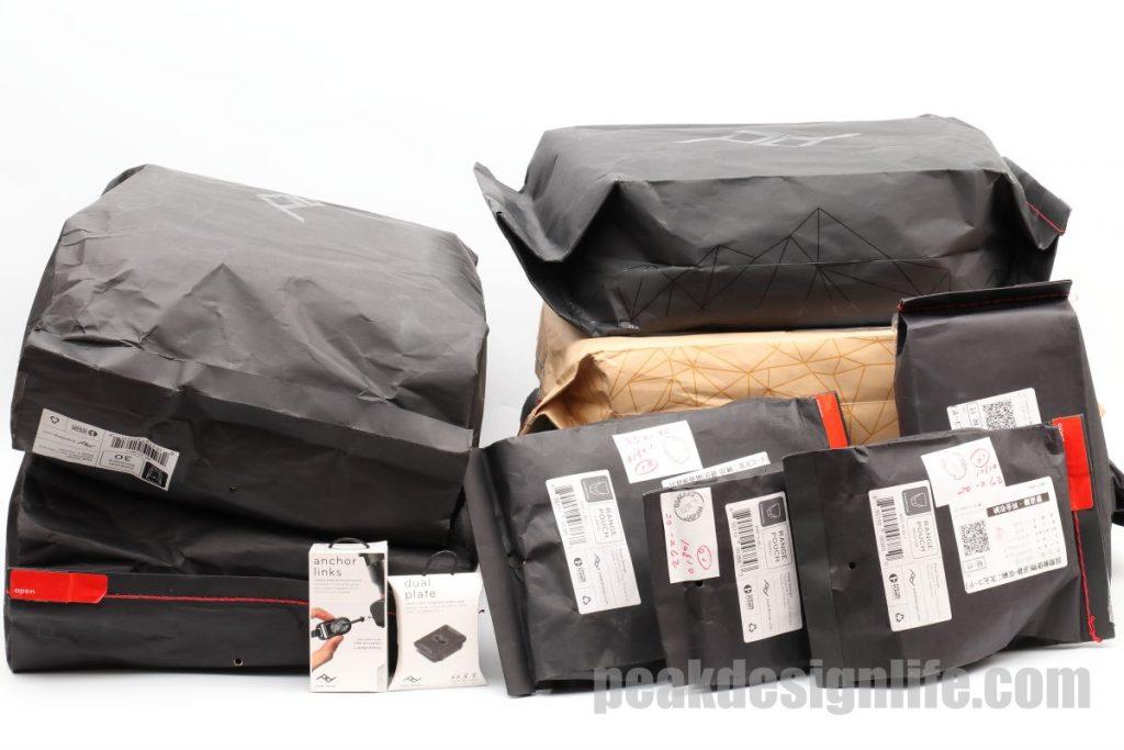ピークデザインのパッケージの数々